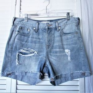 Madewell light wash distressed denim short 28